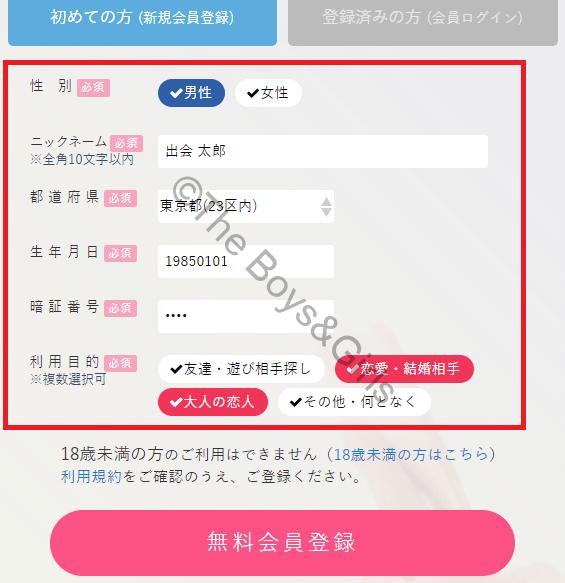 PCマックスに登録する際の入力画面